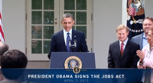 President Obama Speaks after signing the Jobs Act April 2012