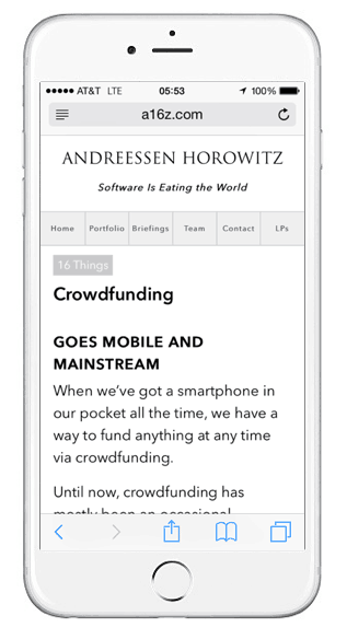 iPhone Andreessen Horowitz Crowdfunding