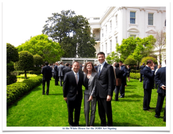 Jason Best Sherwood Neiss and Karen Kerrigan at the White House signing of the JOBS Act in 2013