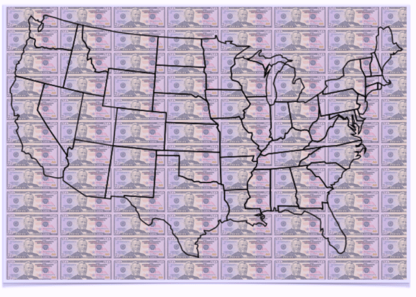 United States Map Money