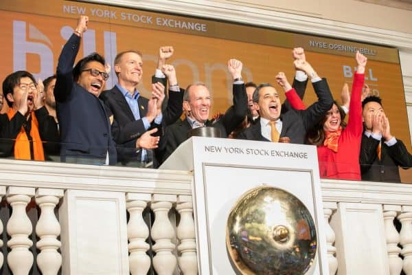 The New York Stock Exchange welcomes Bill.com Holdings, Inc. (NYSE: BILL) in celebration of its IPO. René Lacerte, Founder and CEO, joined by Chris Taylor, VP, NYSE Listings and Services, rings The Opening Bell